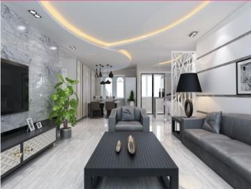 三居室现代简约客厅 ...
