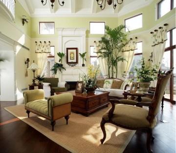 田园风格别墅客厅装修效果方案