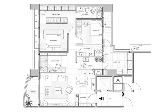 舒适二居室现代简约时尚装修效果图