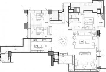 人文豪邸四居室后现代装修效果图