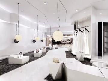 洁白北欧风格服装店装修效果图