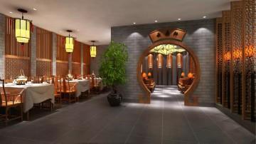 中式古典风格餐馆装修效果图