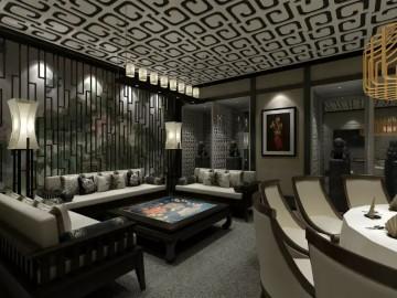 新中式风格餐馆室内装修效果图