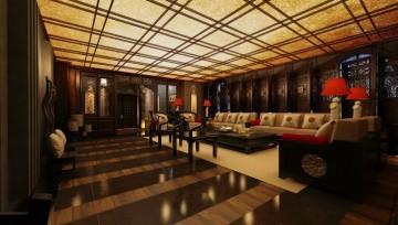 会所中式设计室内装饰效果图0