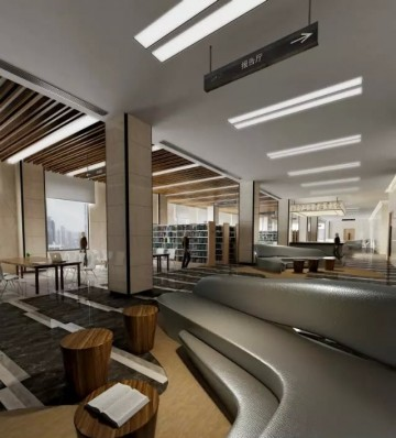 和谐悦目大学图书馆装修效果图
