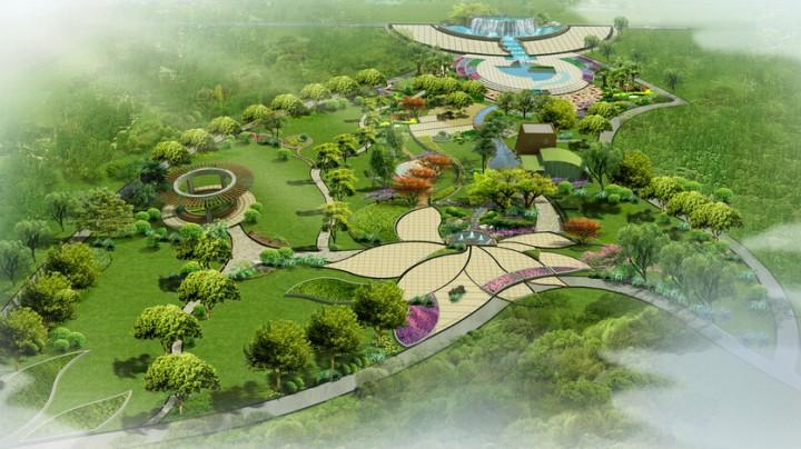 住宅小区公园景观俯瞰效果图