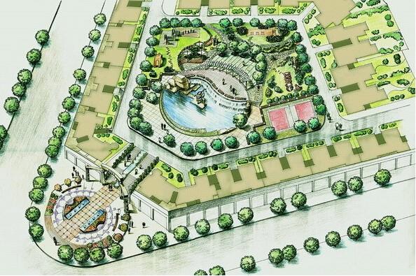 城市公园手绘设计效果图