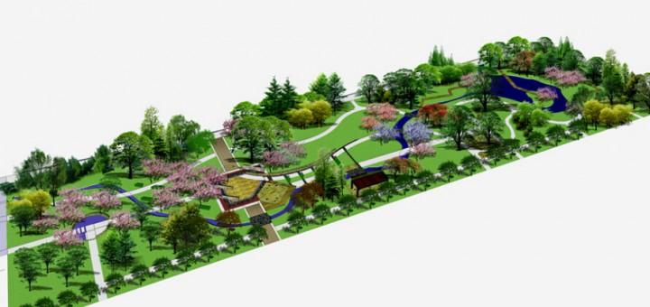 居民休闲小型公园设计效果图