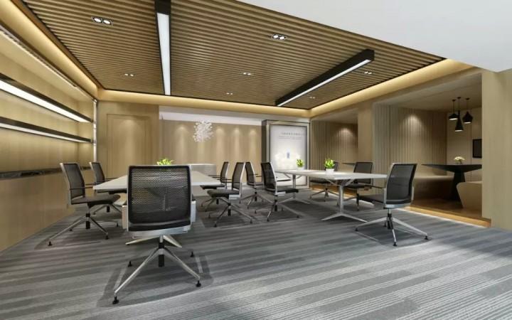 公司简约风格办公会议室装修效果图