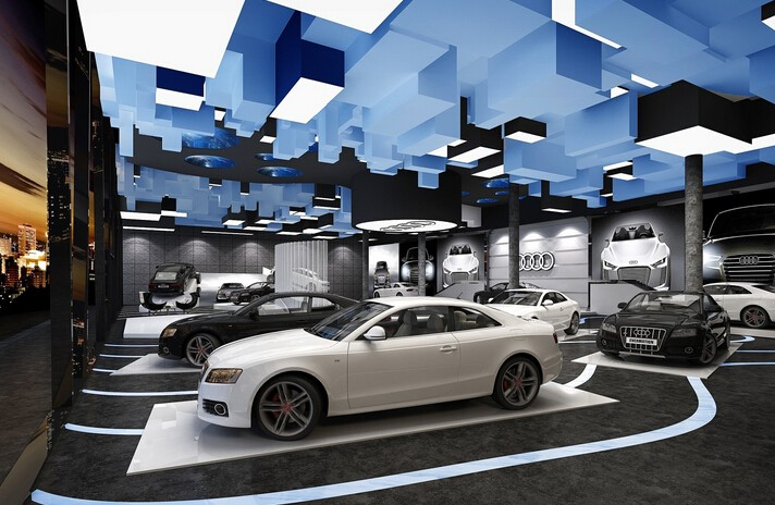 城市主题奥迪汽车展厅装修效果图
