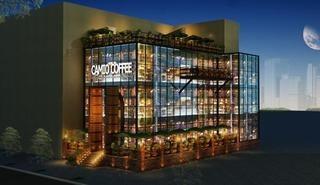 城市建筑咖啡厅外观装修效果图