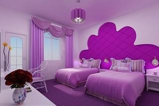 可爱主题酒店客房室内设计效果图
