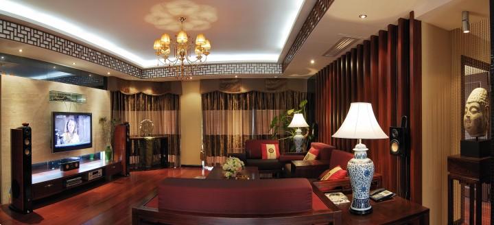 东方魅力三居室新中式装修风格效果图