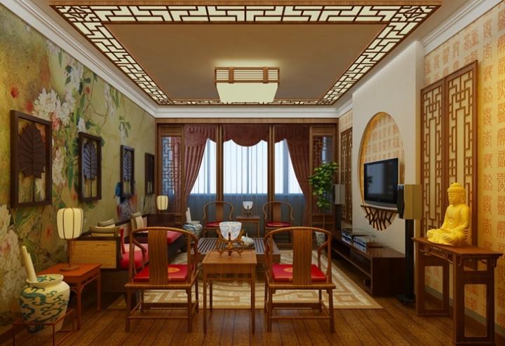 保利百合102平米三室一厅中式古典风格