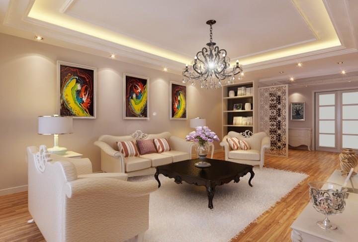 天颐景园107平米三室两厅简欧风格