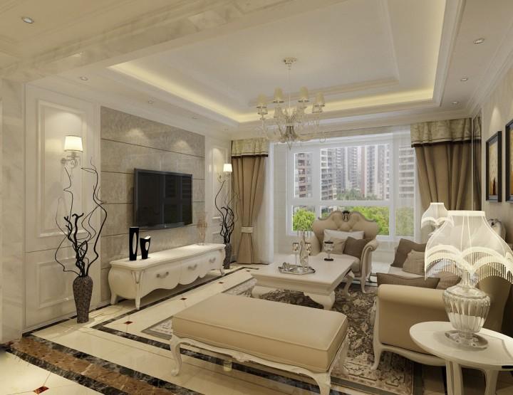 嘉楷时代城117平米三室一厅欧式风格