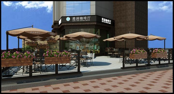 简洁港润咖啡厅设计效果图