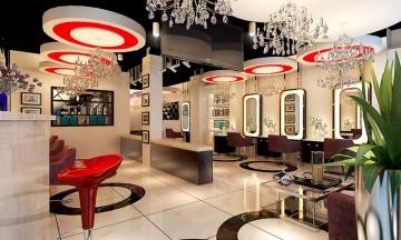 港式理发店200平米混搭风格设计效果图
