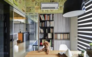 工业风47平米混搭风格工作室效果图设计