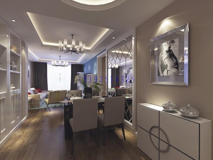 海尔学府87平D户型,三居室现代简约装修设计 青岛实创装饰