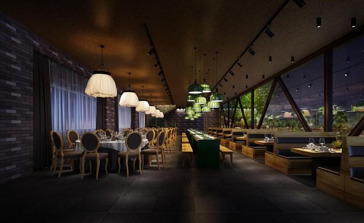现代风餐馆装修效果图