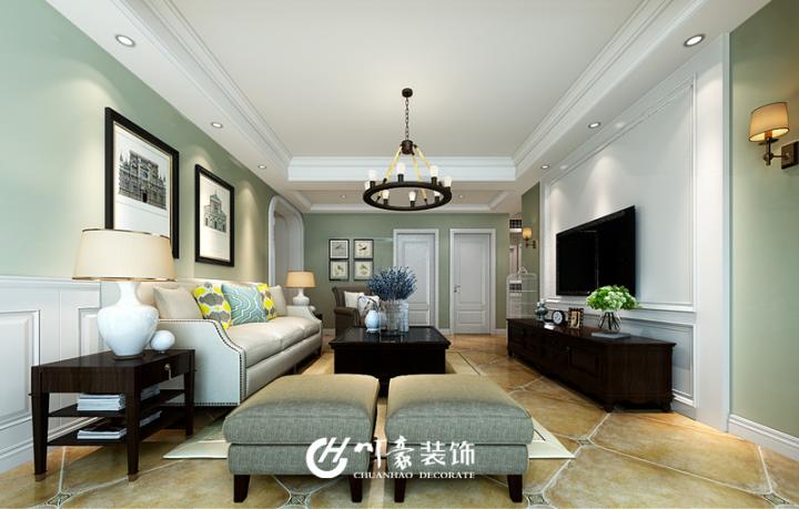 140平美式风格家装设计效果图_地矿家园