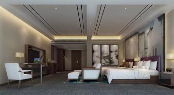 唯美豪华酒店设计双人房效果图