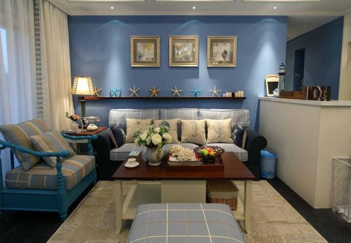 地中海风格三居室家装案例_效果图