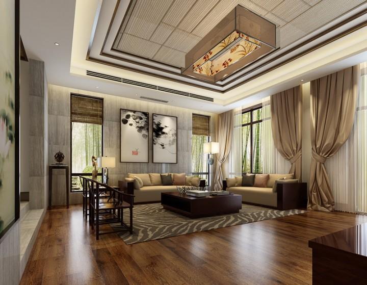 新中式雅致三居室装修设计案例