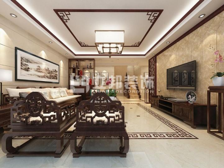 新中式风格典雅装修案例效果图