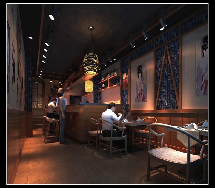 寿司店室内布局装修效果图设计