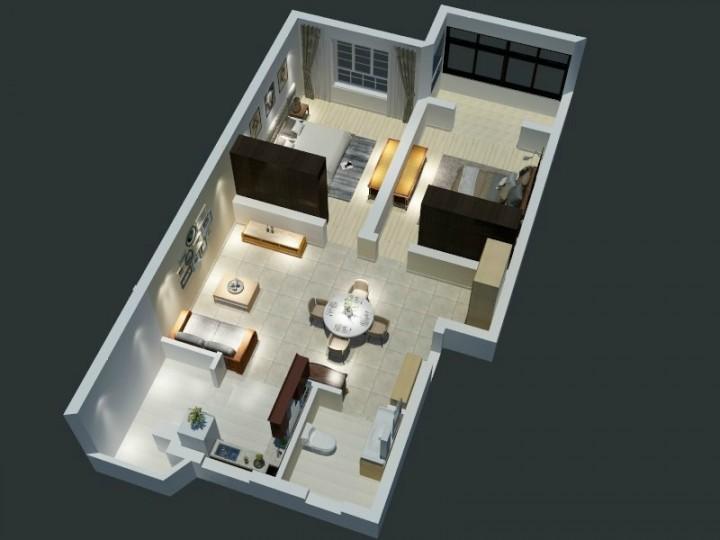 简约风格两室两厅设计效果图