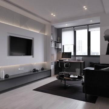 小户型45平酷酷的黑白极简单身公寓
