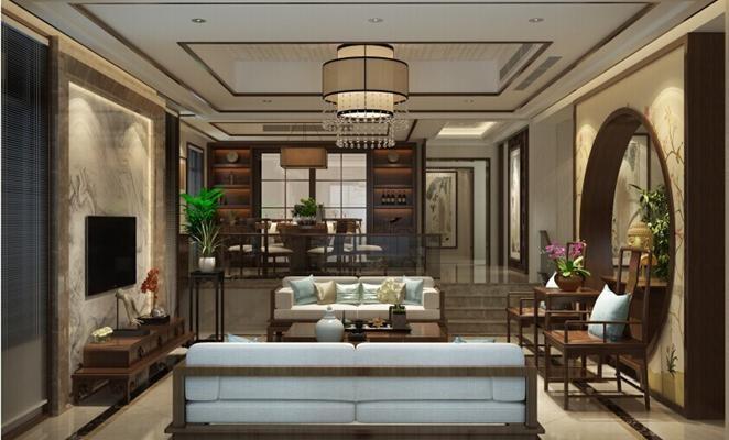 和润花园新中式风格三居室装修效果图