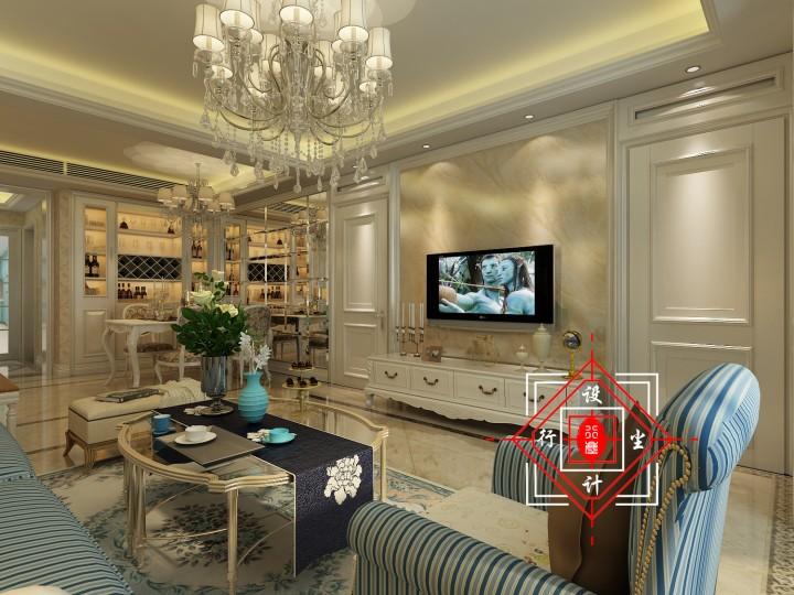 温馨家园三居室欧式装修效果图