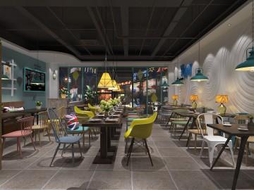 工业风餐厅装修装饰效果图