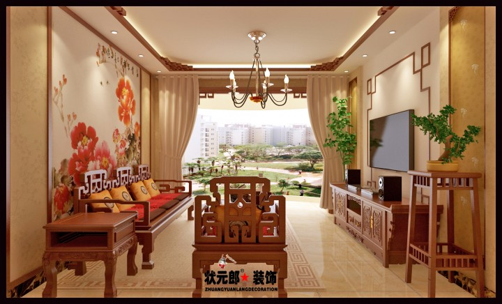 锦绣华城三居室中山风格效果图欣赏