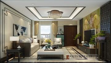莱蒙国际公馆190平户型的新中式设计效果图方案