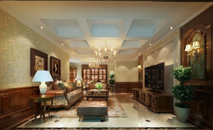 三室两厅古典美式风格设计效果图