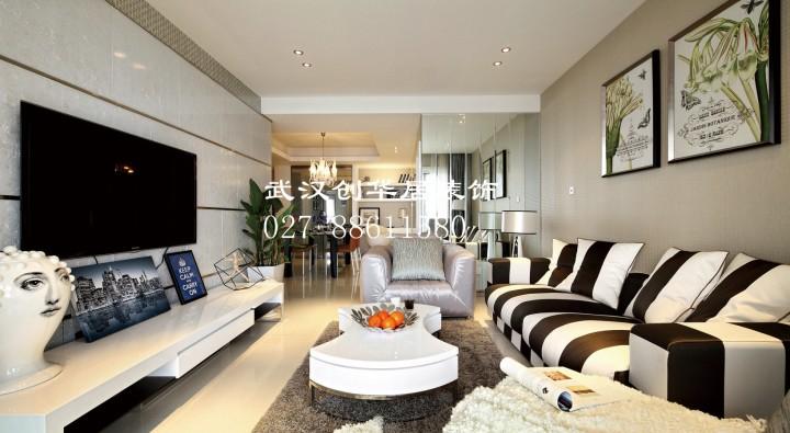 臥龍麗景灣三室兩廳現代簡約風格設計效果圖