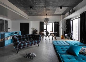 小户型现代工业风格时尚公寓设计效果图