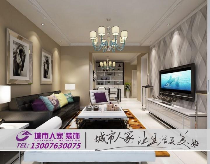 龙海林溪97平两居室现代简约风格设计效果图
