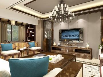 石狮西宾自建房小区四居室中式风格设计效果图