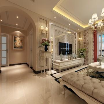 万达文旅城三居室简欧风格设计效果图欣赏