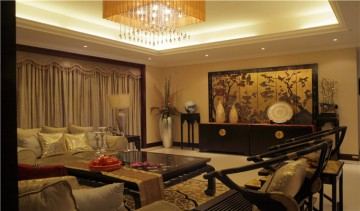 华南新城四居室家装新中式风格设计效果图
