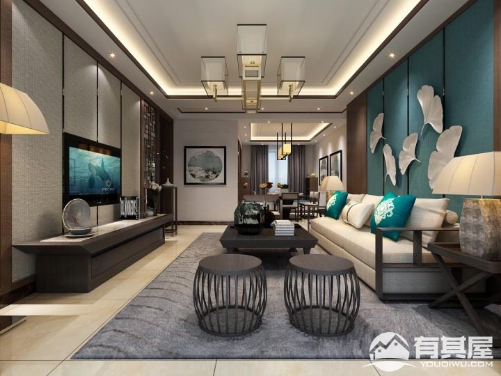 萬達文旅城三室兩廳新中式風格設計效果圖欣賞