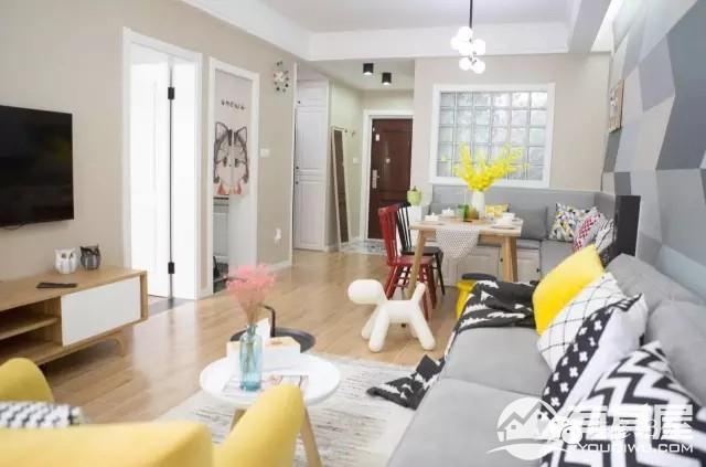爱民里小区73平两室两厅清新宜家混搭设计效果图