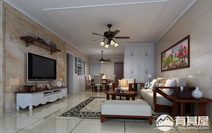 中洲中央公园三室两厅家装现代简约装修设计效果图