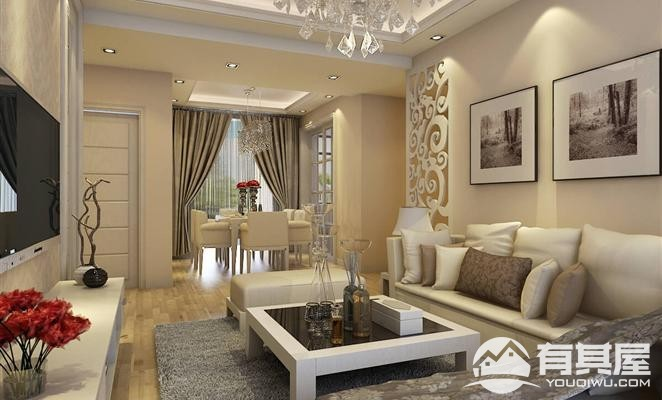 新港天城三室两厅家装简欧风格设计效果图欣赏
