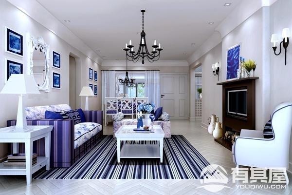 常青藤三室两厅地中海风格设计效果图欣赏